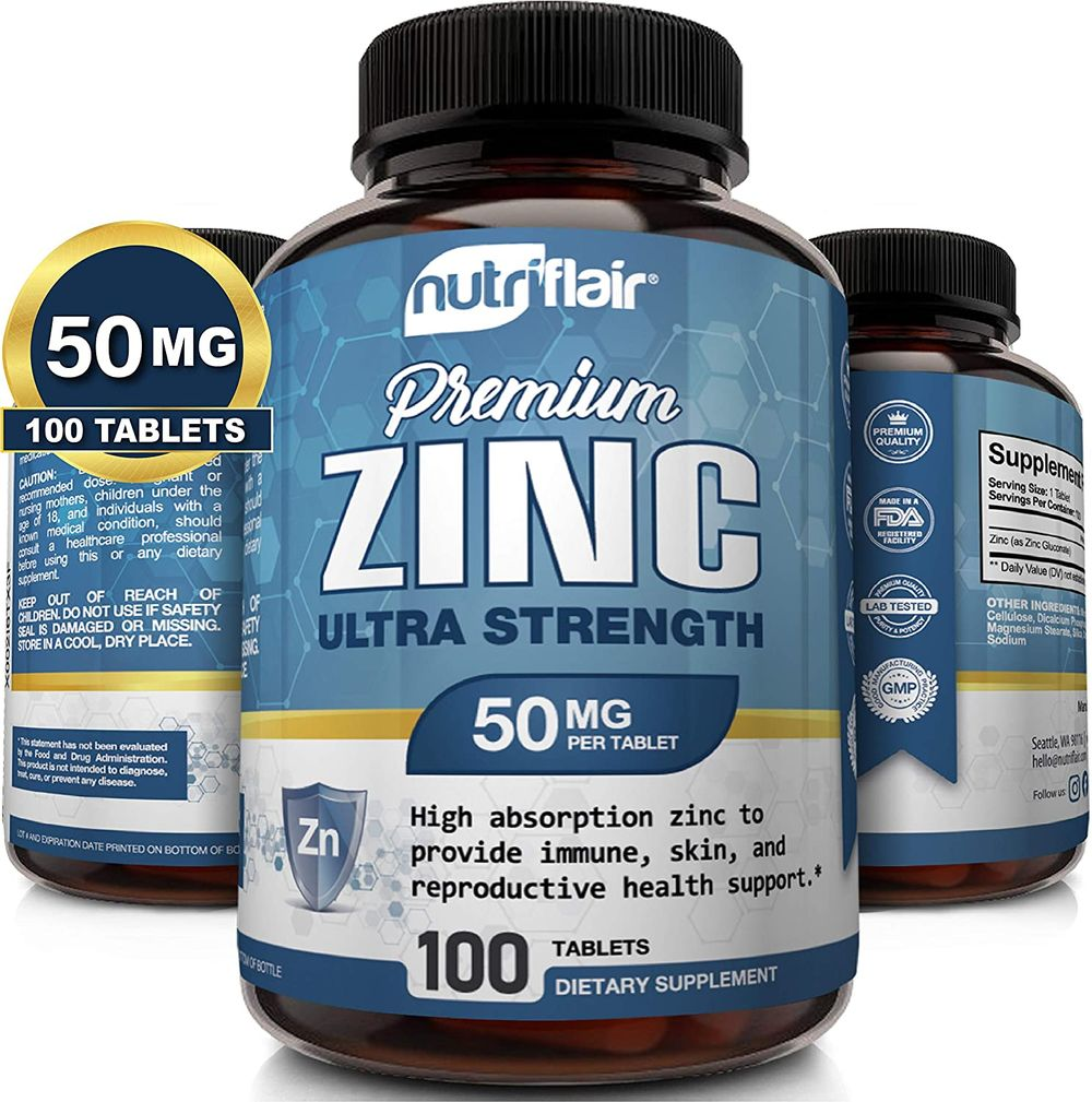 NutriFlair Zinc Gluconate 50mg, 100 Tablets - High Potency Immune System Booster Supplement Pills, Immunity Defense, Powerful Natural Antioxidant, Non-gmo, Compare with zinc picolinate, citrate, oxide