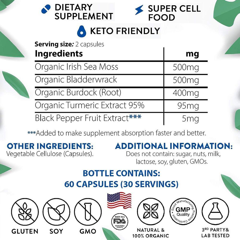 Inner Brightness Organic Irish Sea Moss Capsules Max Absorption + 95% Turmeric Curcumin with Bladderwrack and Burdock Root (1500mg), Vegan Keto Raw Non-GMO Cell Food, Immune and Thyroid Support Pills