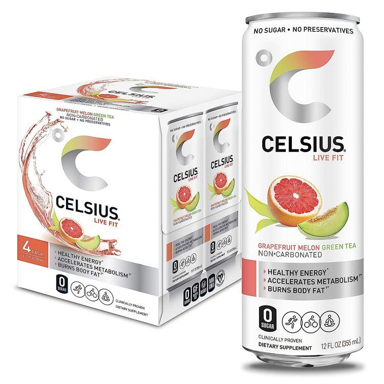 CELSIUS Grapefruit Melon Green Tea Non-Carbonated Fitness Drink, Zero Sugar, 12oz. Slim Can, 4 Pack
