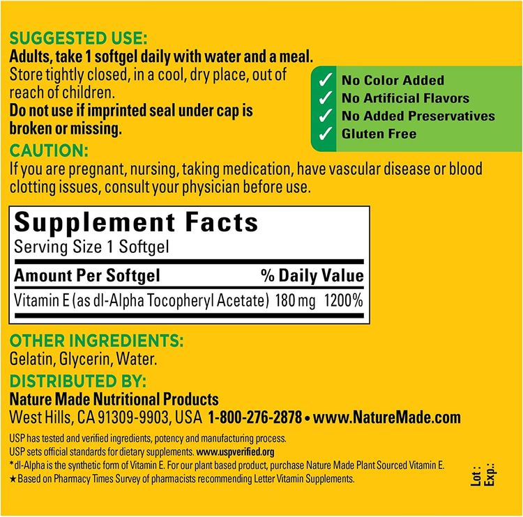 Nature Made Vitamin E 180 mg (400 IU) dl-Alpha Softgels, 300 Count Value Size for Antioxidant Support (Packaging May Vary)