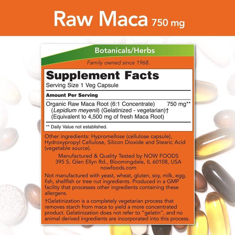 NOW Supplements, Maca (Lepidium meyenii) 750 mg Raw, Reproductive Health*, 90 Veg Capsules