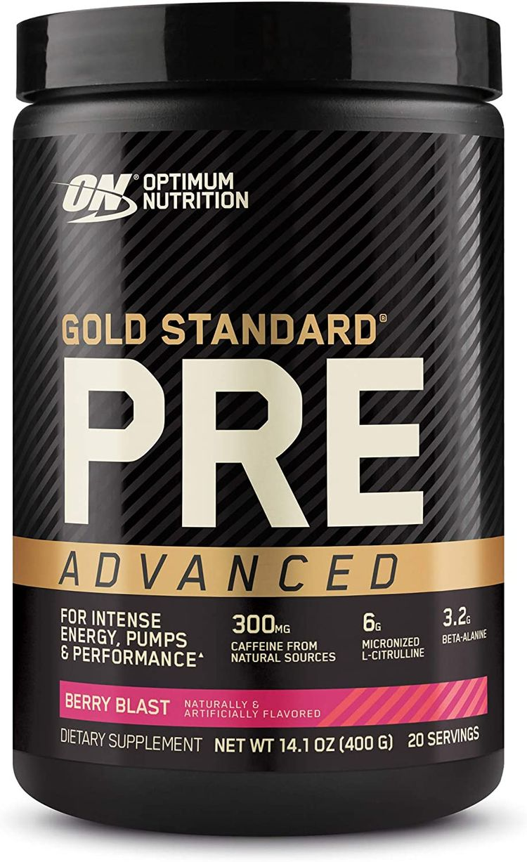 Optimum Nutrition Gold Standard Pre Workout Advanced, with Creatine, Beta-Alanine, Micronized L-Citrulline and Caffeine for Energy, Keto Friendly, Berry Blast, 20 Servings