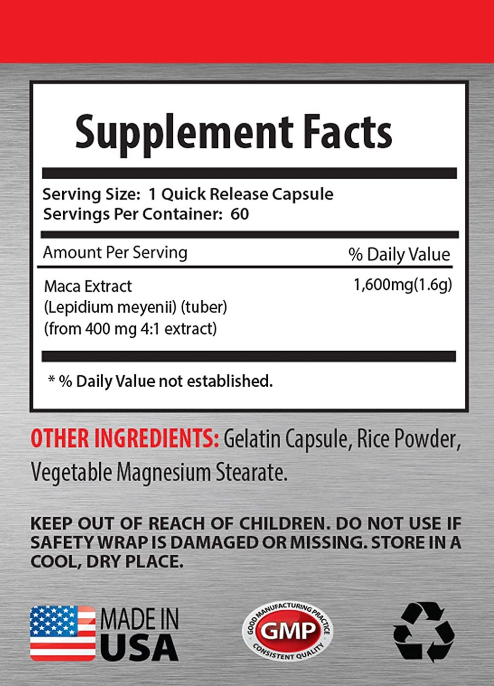 Male Testosterone Booster Natural - adaptogen Supplement Blend - MACA Extract 1600 MG - red maca