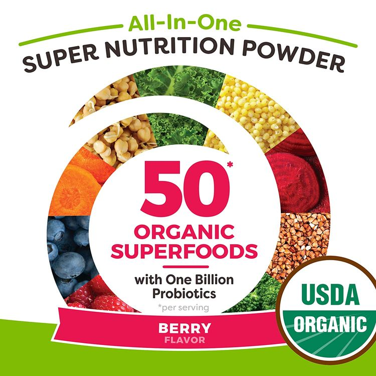 Orgain Organic Green Superfoods Powder, Berry - Antioxidants, 1 Billion Probiotics, Vegan, Dairy Free, Gluten Free, Kosher, Non-GMO, 0.62 Pound (Packaging May Vary)