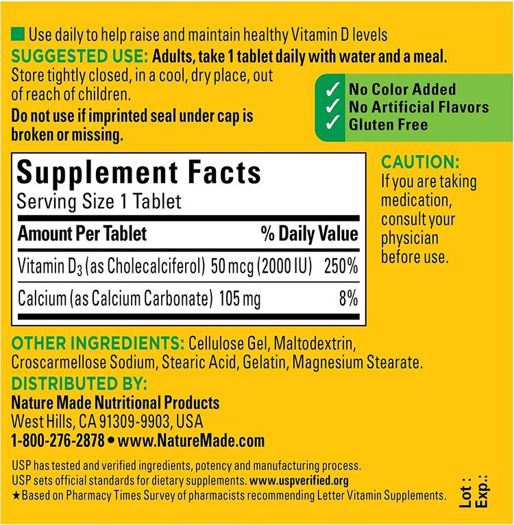 Nature Made Vitamin D3 2000 IU (50 mcg) Tablets, 100 Count for Bone Health† (Packaging May Vary)