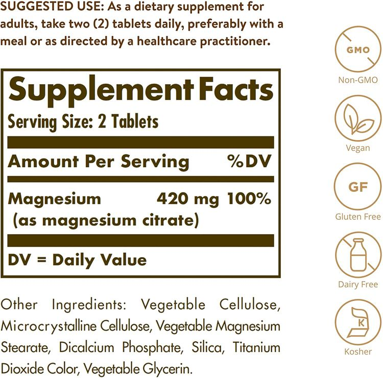 Solgar Magnesium Citrate 120 Tablets (Pack of 2)