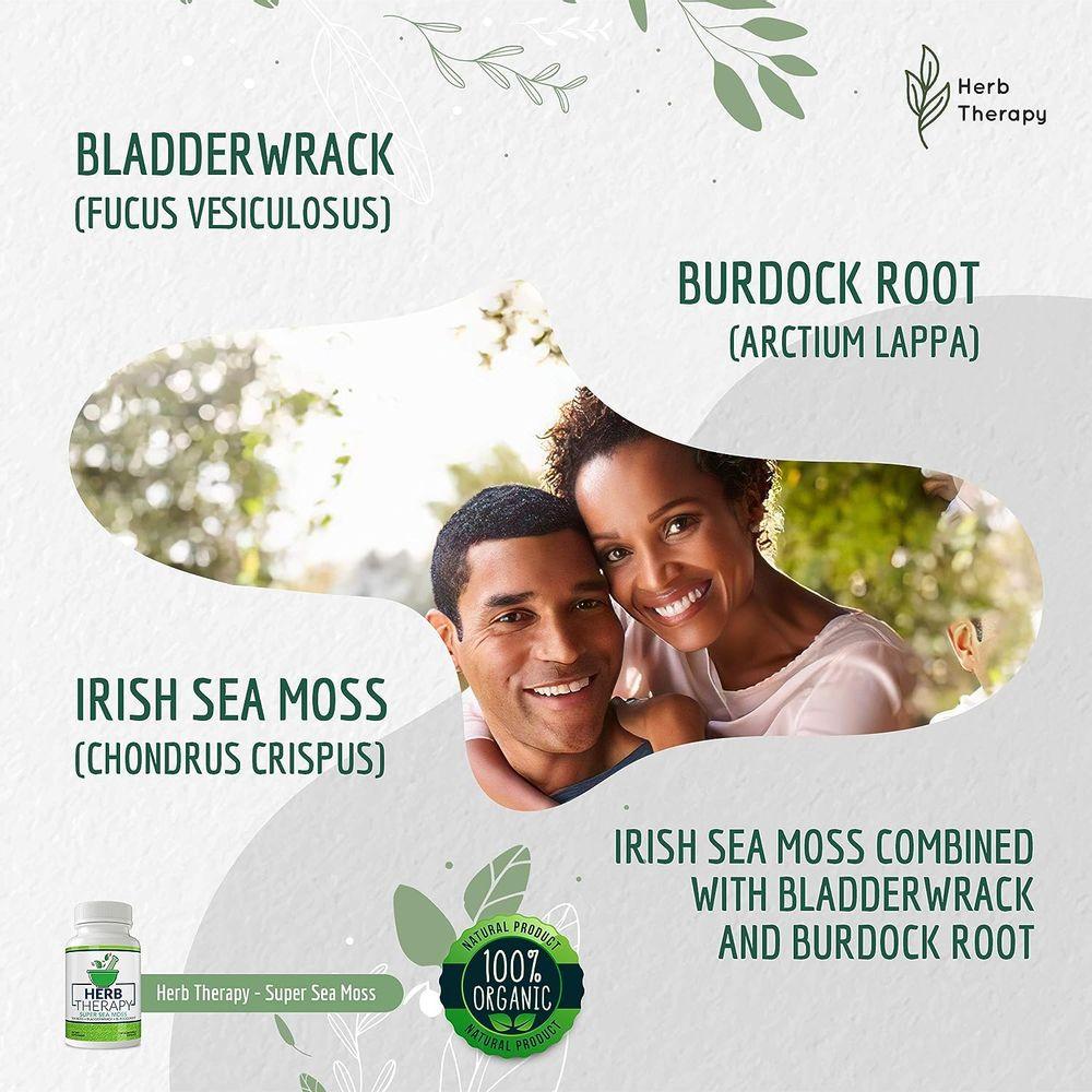 Herb Therapy Super Sea Moss Organic Irish Sea Moss Capsules (100ct) Organic Burdock Root Capsules, Sea Moss and Bladderwrack Capsules - No Fillers - Seamoss Raw Supplement