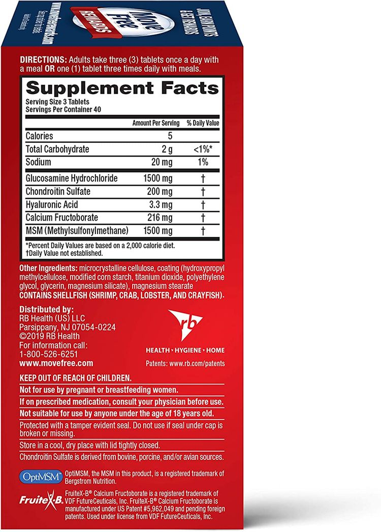 Glucosamine & Chondroitin Plus MSM Advanced Joint Health Supplement Tablets, Move Free (120 count in a bottle), Supports Mobility, Flexibility, Strength, Lubrication and Comfort