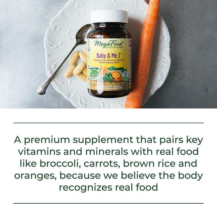 MegaFood, Baby & Me 2, Prenatal and Postnatal Vitamin with Active Form of Folic Acid, Iron, Choline, Non-GMO, 60 Tablets (30 Day Supply)