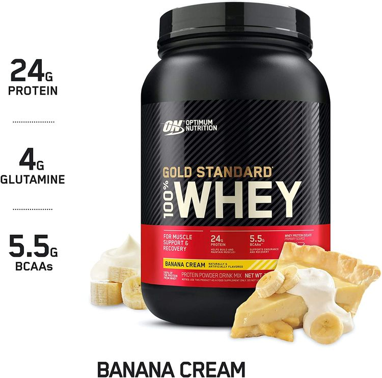 Optimum Nutrition Gold Standard 100% Whey Protein Powder, Banana Cream, 2 Pound (Packaging May Vary)