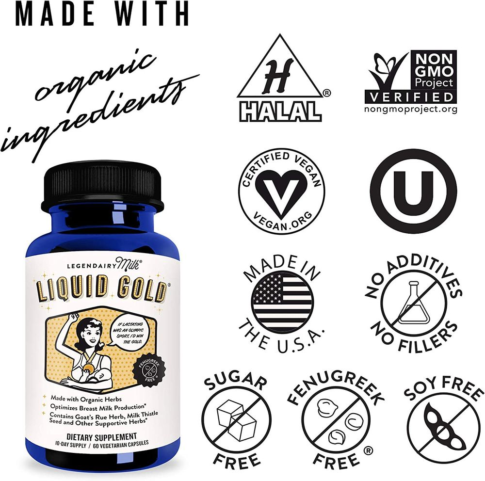 Legendairy Milk® Liquid Gold® - Contains Goats Rue and Milk Thistle - Fenugreek Free - Certified Organic by QAI, Certified Vegan, Non-GMO Project Verified, Certified Halal, and Certified Kosher