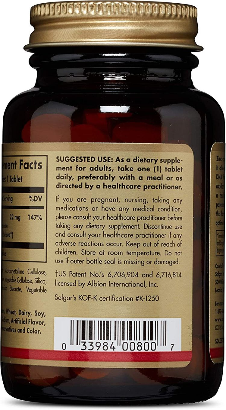 Solgar Chelated Zinc, 100 Tablets - Zinc for Healthy Skin - Supports Cell Growth & DNA Formation - Exerts Antioxidant Activity - Supports A Healthy Immune System - Non GMO, Gluten Free - 100 Servings
