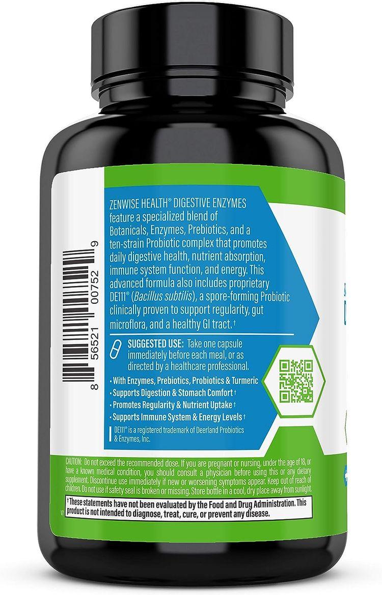Zenwise Health Digestive Enzymes Plus Prebiotics & Probiotics Supplement, Vegan Formula for Better Digestion & Lactose Absorption with Amylase & Bromelain, 60 Count