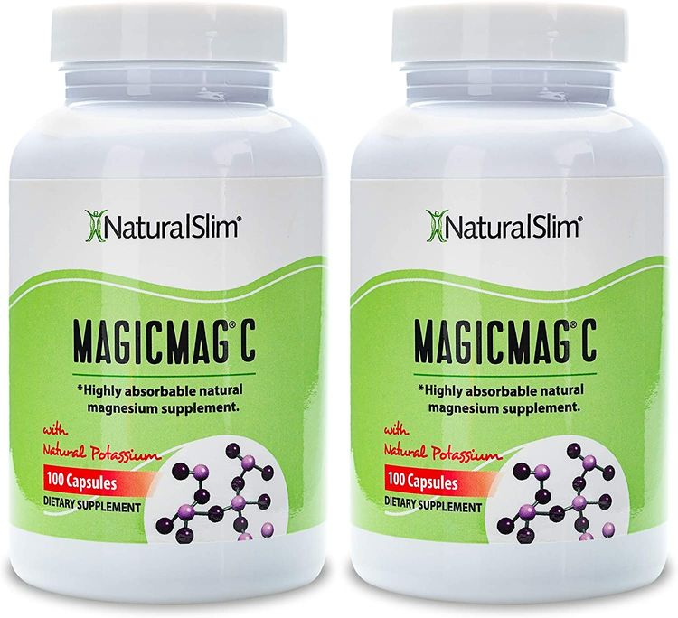 NaturalSlim Anti Stress Magnesium Capsules - Pure Magnesium Citrate Plus Potassium - Natural Aid to a Slow Metabolism, Muscle Relaxation & Sleeping Difficulties - 500 mg - 100 Count (2 Pack)