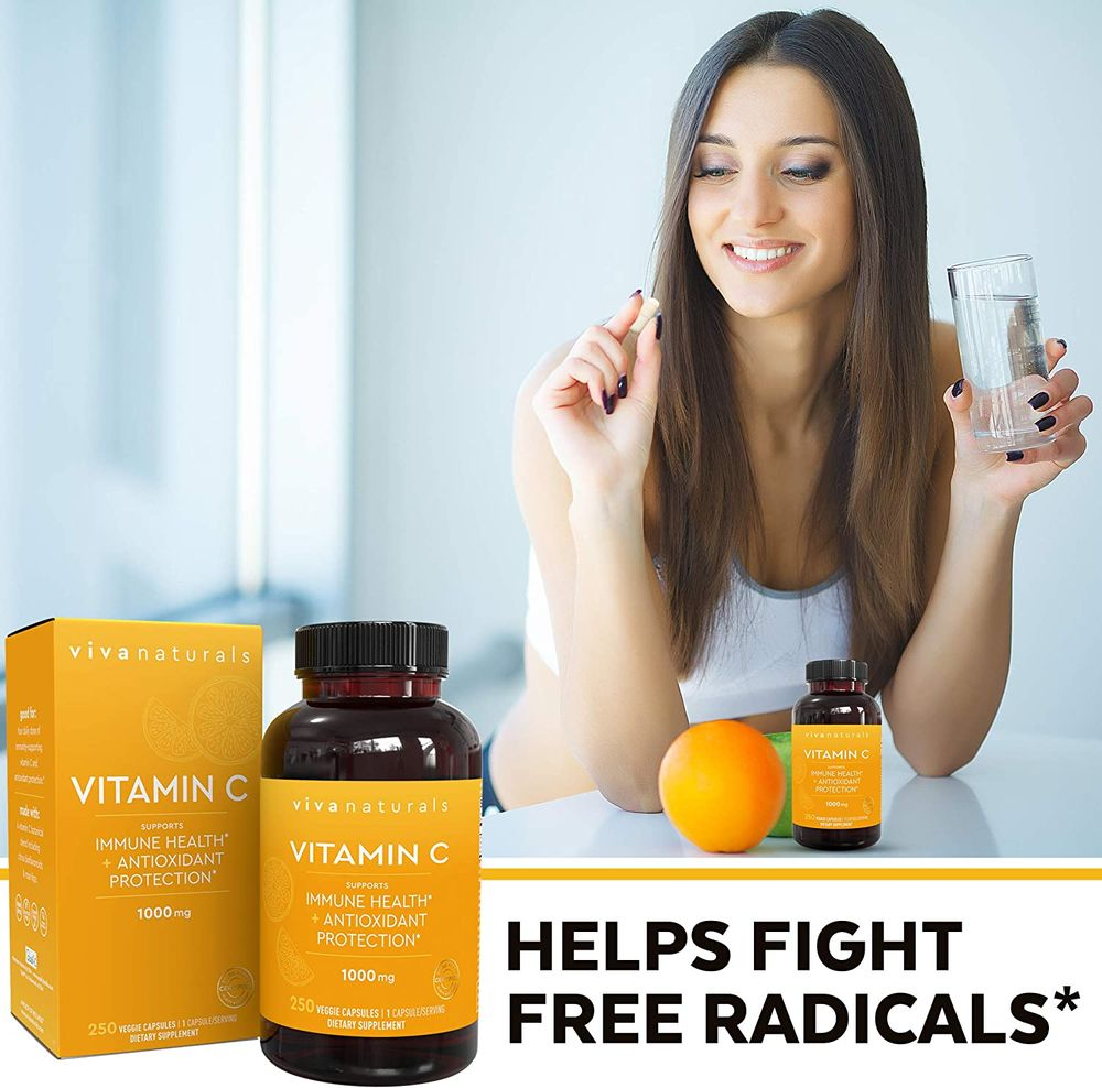 Vitamin C 1000mg (250 Capsules) - Non-GMO Vitamin C Supplements with Citrus Bioflavonoids & Rose Hips for Immune Support & Antioxidant Protection