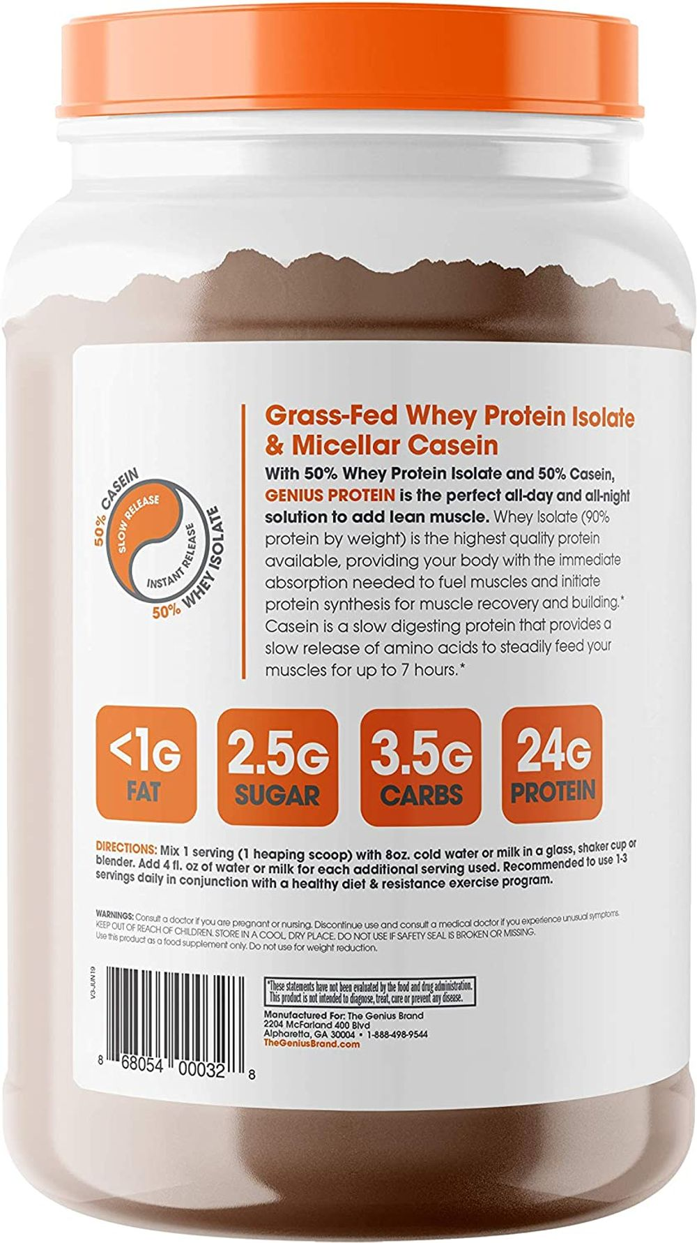Genius Protein Powder - Natural Whey Protein Isolate & Micellar Casein Lean Muscle Building