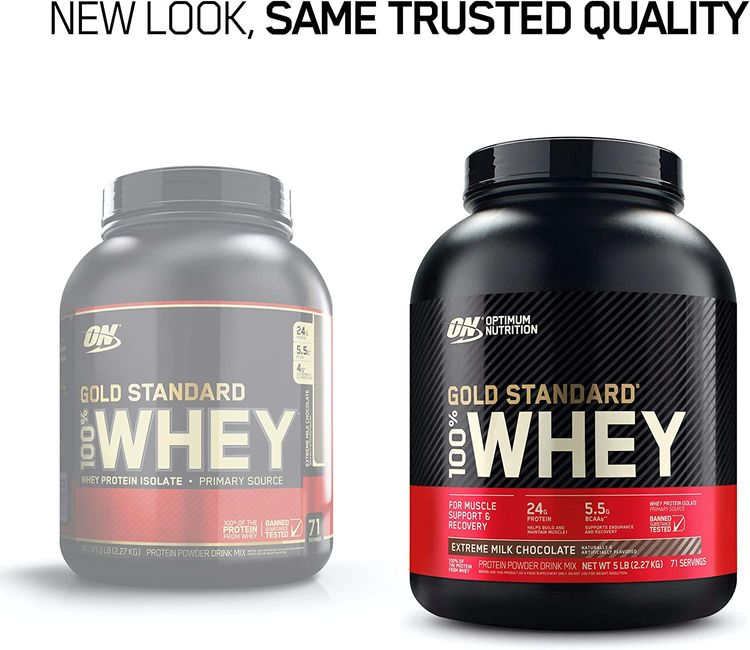 Optimum Nutrition Gold Standard 100% Whey Protein Powder, Extreme Milk Chocolate, 5 Pound (Packaging May Vary)