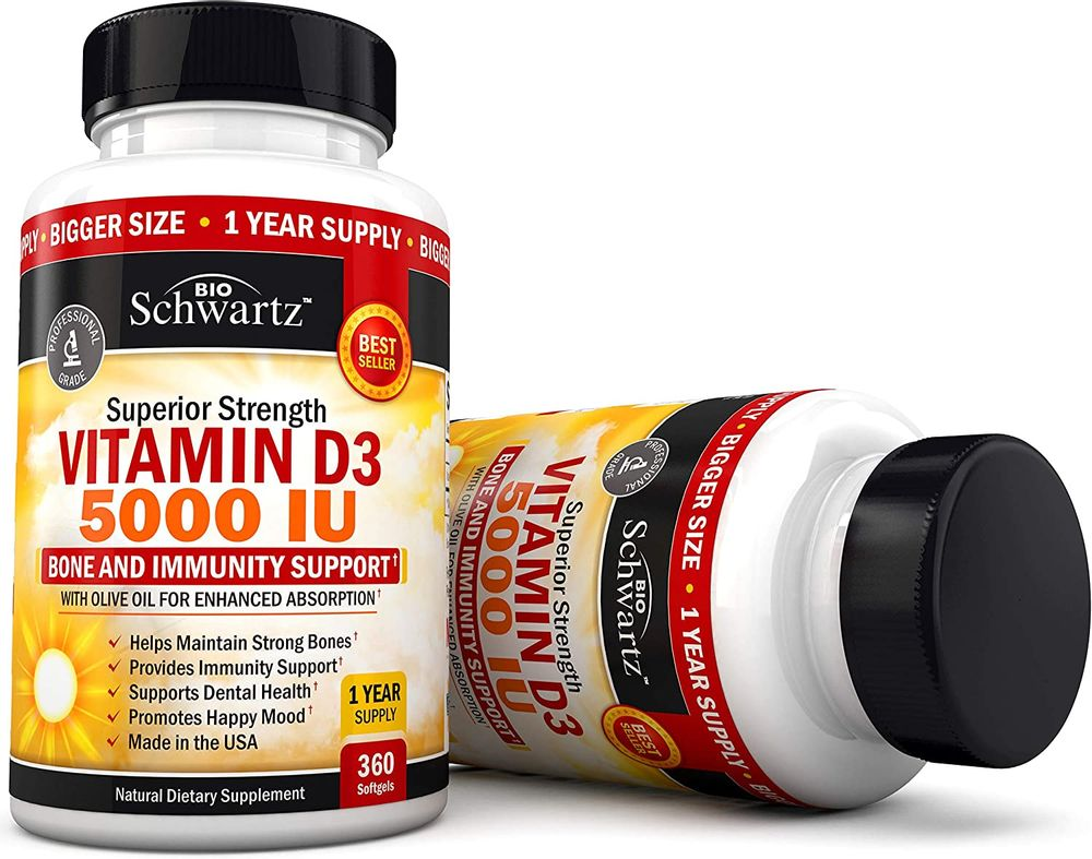Vitamin D3 5,000 IU - Dr. Approved Vitamin D Supplement for Immune Support, Healthy Mood, & Bone Strength - with Olive Oil for Highest Absorption - Gluten Free & Non-GMO - Made in USA - 360 Softgels