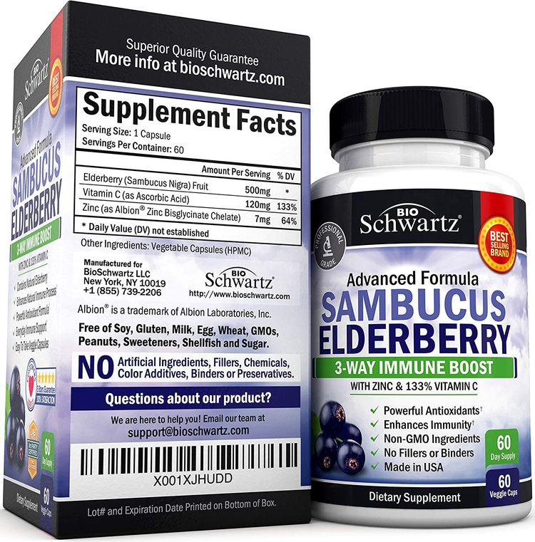 Sambucus Elderberry Capsules with Zinc & Vitamin C (2 Month Supply) - Dr. Approved Women & Men's Daily Herbal Supplement for Immune Support, Skin Health - Powerful Antioxidant - Natural Elderberries