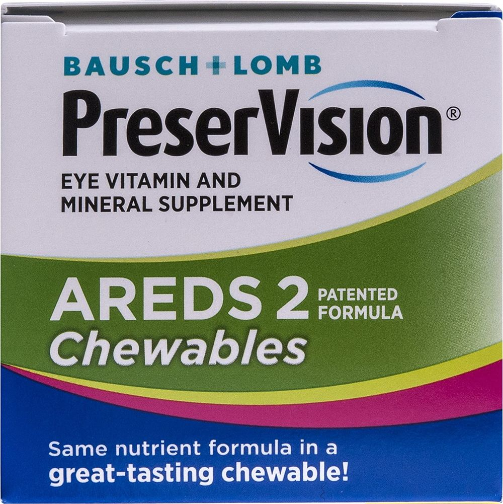PreserVision AREDS 2 Eye Vitamin & Mineral Supplement, Contains Lutein, Vitamin C, Zeaxanthin, Zinc & Vitamin E, 60 Chewable Tablets (Packaging May Vary)