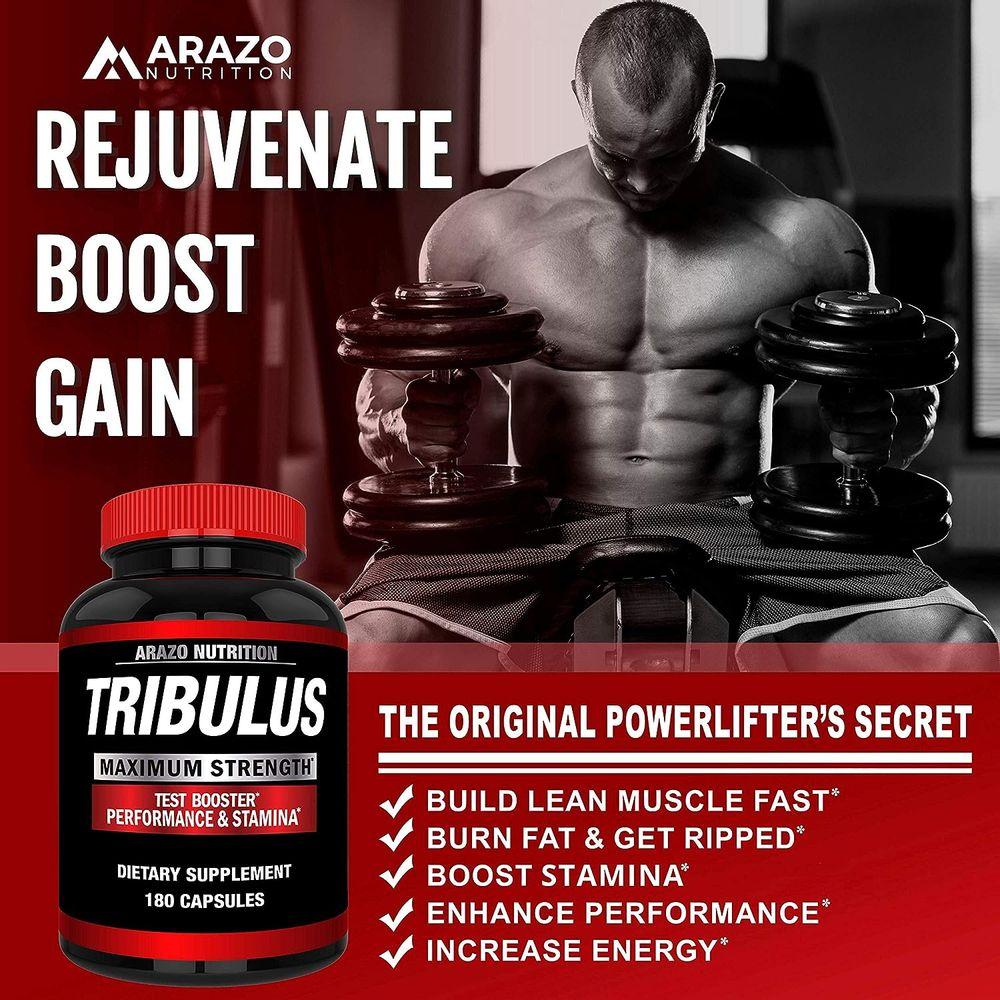 Tribulus Terrestris 1500mg Extract Powder - Testosterone Booster with Estrogen Blocker - Arazo Nutrition - 180 Capsules
