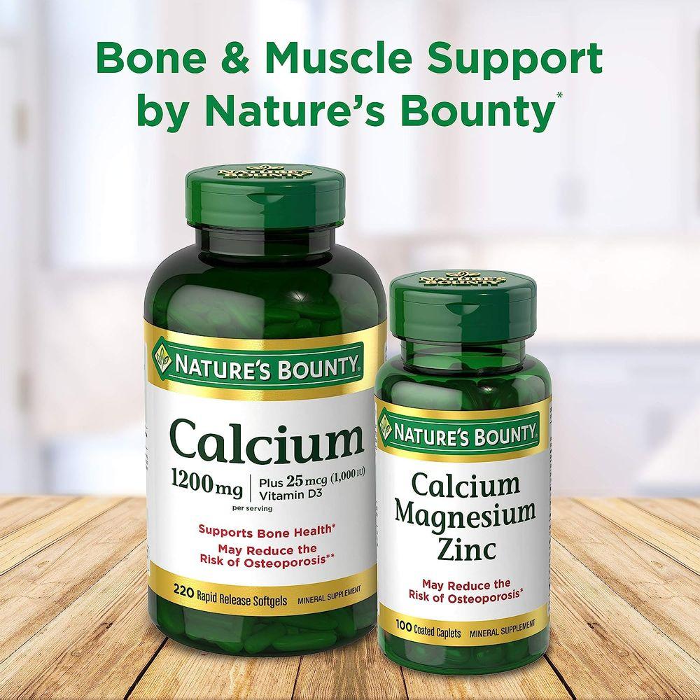 Calcium Carbonate & Vitamin D by Nature's Bounty, Supports Immune Health & Bone Health, 1200mg Calcium & 1000IU Vitamin D3, 120 Softgels