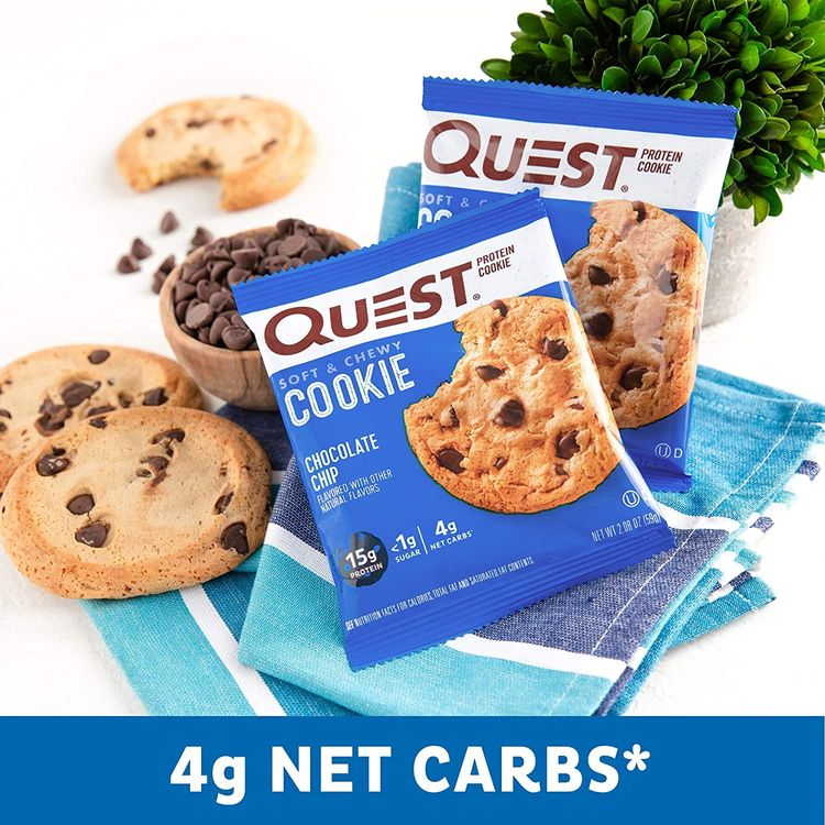Quest Nutrition Chocolate Chip Protein Cookie, Keto Friendly, High Protein, Low Carb, Soy Free, 12 Count