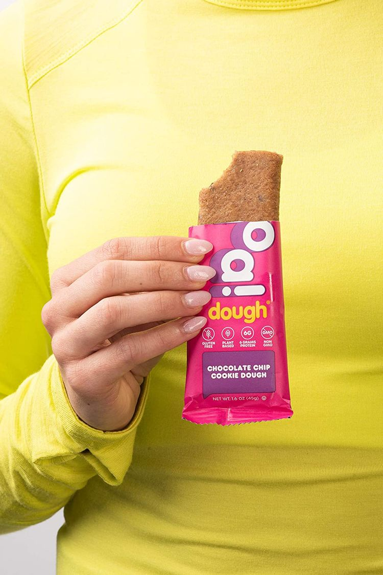 WHOA DOUGH Plant Based Protein Bar, Gluten Free, Dairy Free, Non GMO, Healthy Snacks for Kids and Adults, 8g Protein, 10 Bars (Chocolate Chip)