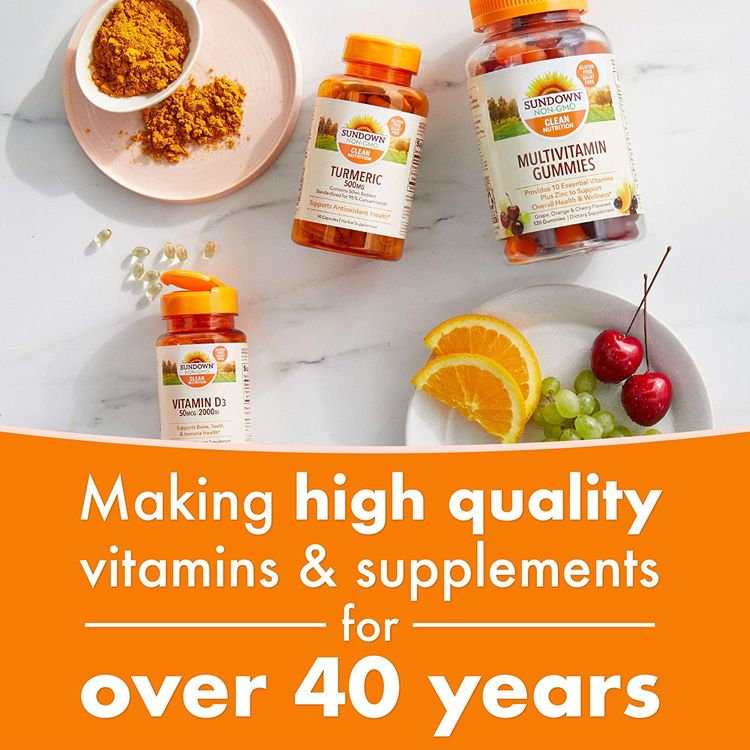 Calcium & Vitamin D by Sundown, Immune Support & Bone Health, 1200mg Calcium & 1000IU Vitamin D3, Gluten Free, Dairy Free, 60 Softgels