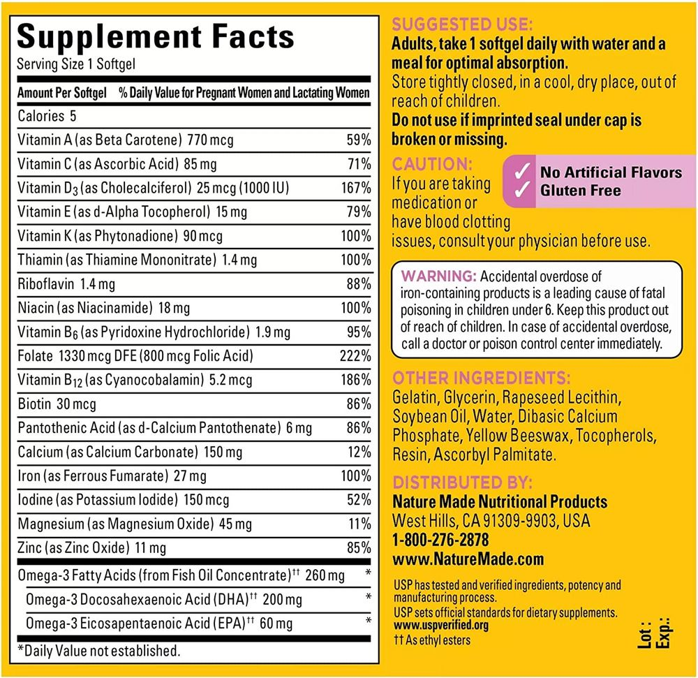Nature Made Prenatal Multivitamin + 200 mg DHA Softgels, 110 Count to Support Baby's Development (Packaging May Vary)