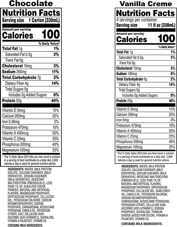 Muscle Milk 100 Calorie Protein Shake Bundle Pack, Chocolate & Vanilla Creme, 20g Protein, 11oz Cartons (24 Pack)