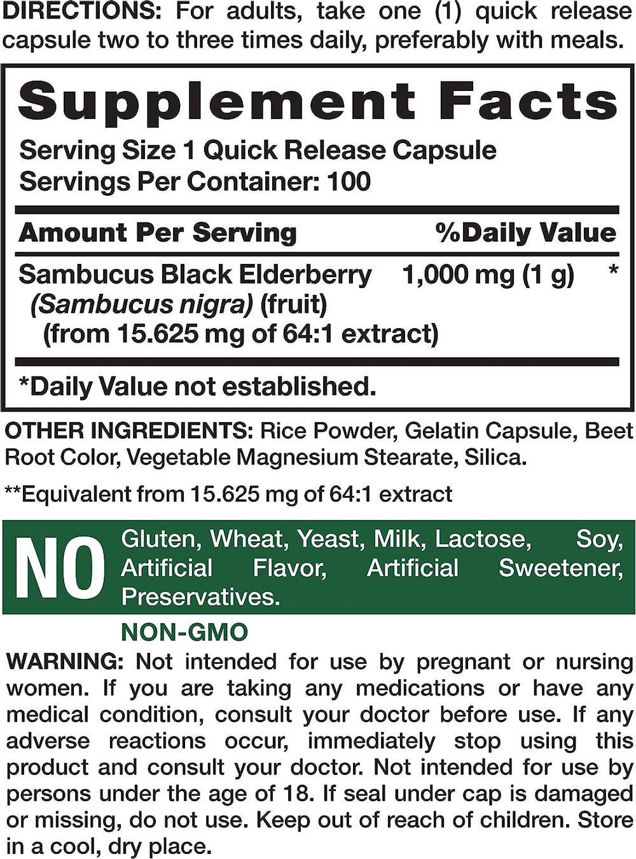 Nature's Truth Sambucus Black Elderberry 100 Capsules, 100 Count