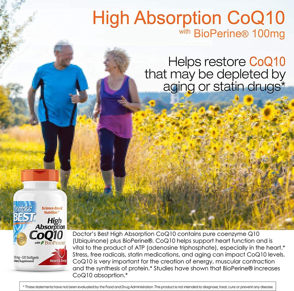 Doctor's Best High Absorption CoQ10 with BioPerine, Gluten Free, Naturally Fermented, Heart Health, Energy Production,100 mg 120 Softgels