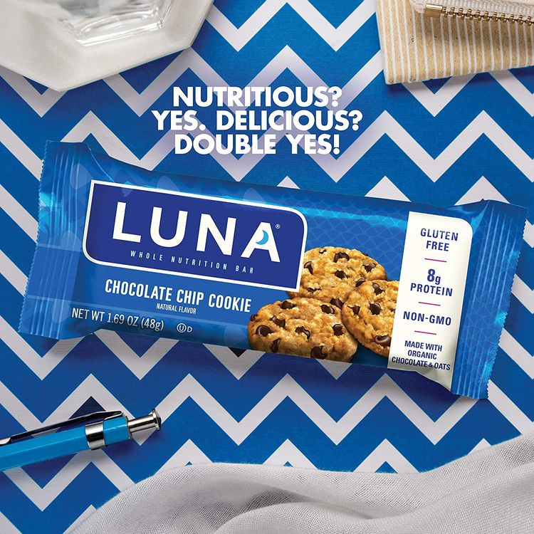 LUNA BAR - Gluten Free Bars - Chocolate Chip Cookie Flavor - (1.69 Ounce Snack Bars, 15 Count)