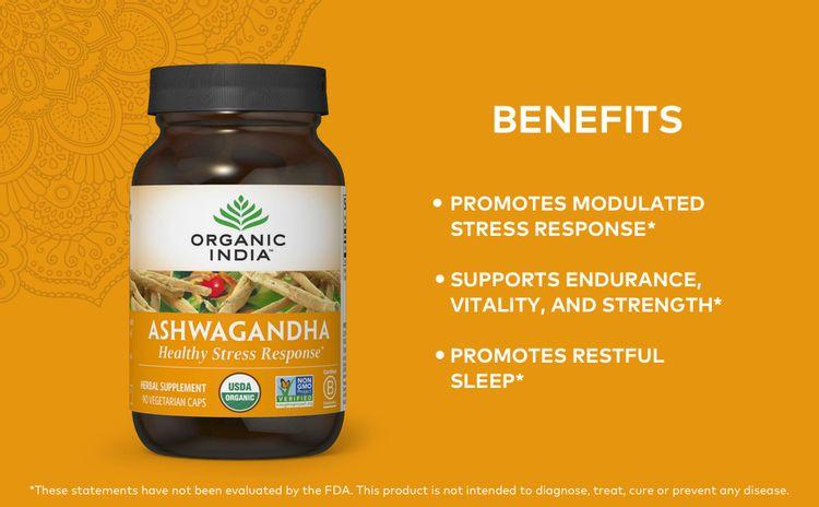 ashwagandha supplement organic health stress response endurance vitality strength promote sleep