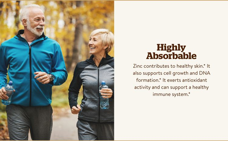 Zinc contributes to healthy skin, nails, and hair; synthesis of collagen in bone tissue