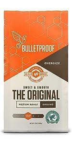 Bulletproof Original Ground Coffee Rainforest alliance keto medium roast upgraded