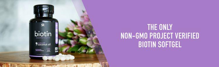 biotin 5000 mcg non gmo project verified vegan certified sports research softgel