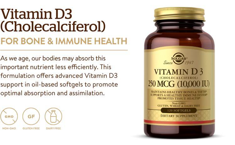 Maintain Healthy Bones And Teeth; Vitamin D, calcium, Solgar Vitamin D3 Softgels