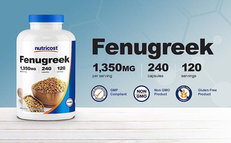 Nutricost Fenugreek 1500 mg per serving 120 servings 240 capsules