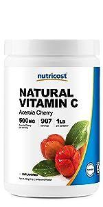 Natural Vitamin C 1 Lb Acerola Cherry 500 mg Per serving