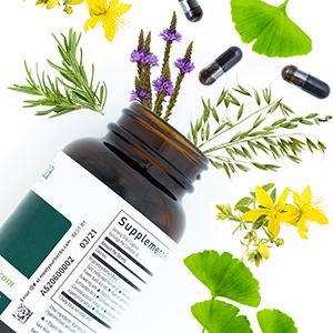 Image of a Gaia Herbs Product bottle with herb collage