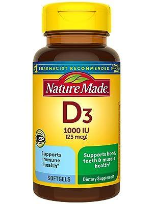 Nature Made Vitamin D3 25 mcg (1000 IU) Softgels