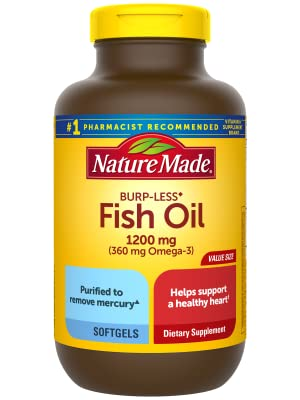 Nature Made Burp-Less Fish Oil 1200 mg Softgels, 200 Count for Heart Health†