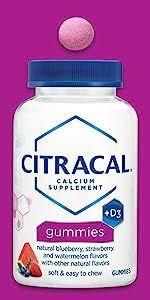 Citracal Gummies chews chewable natural flavors calcium citrate carbonate vitamin D +d3 adults