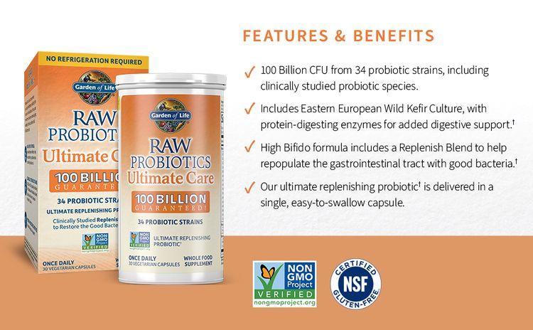 raw probiotics, 100 billion CFU, nongmo, gluten free NSF, digestion, clinically studied, small pill