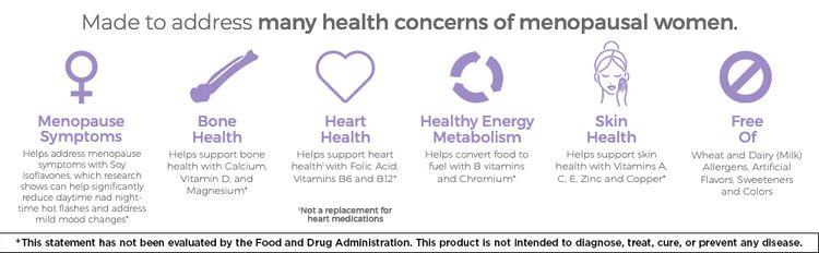 Menopause symptoms, bone health, heart health, healthy energy metabolism, skin health, free of