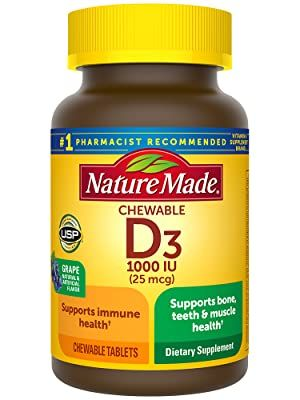 Nature Made Vitamin D3 25mcg (1000 IU) Chewable Tablet†