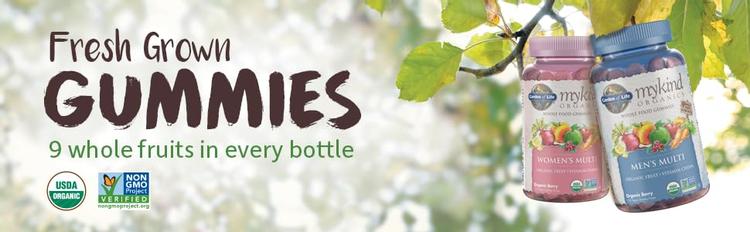 fresh grown organic gummies usda organic non-gmo project verified nine 9 whole fruits