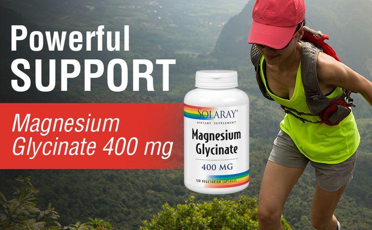Solaray Magnesium Glycinate 400 mg Bone Cardiovascular Health Enhanced Absorption 120 VegCaps